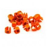 Acessórios para pombos: Anilhas plásticas Numerada (8x5mm) de abrir e fechar. Saco de 50 anéis