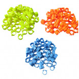 Pigeons supplies & accessories: Plastic pigeon rings (clip on type), YELLOW color. Bag of 100 rings