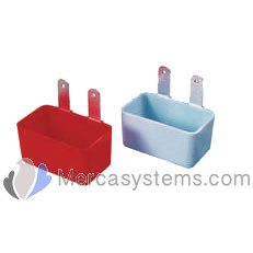 Individual Plastic feeder - waterer, with hook, for carrier basket