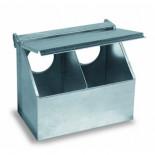 Copele Alimentateur extérieur galvanisé, double trou avec couvercle. Pour les pigeons et les perdrix.