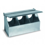 Copele Alimentateur extérieur galvanisé, triple trou avec couvercle. Pour les pigeons et les perdrix.