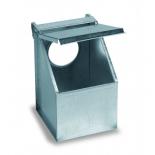Copele Alimentatore esterno galvanizzato, foro singolo con coperchio. Per i piccioni e le pernici.